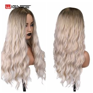 Image 5 - Wignee オンブルロング波状耐熱合成かつら黒ブロンドアメリカコスプレ/パーティー中部ナチュラル髪かつら