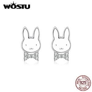 Image 1 - WOSTU pendientes de conejo de animales para mujer y niña, de Plata de Ley 925, joyería de plata para Boda nupcial
