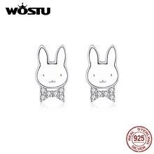 Wostu 925 prata esterlina animais coelho parafuso prisioneiro brincos para mulheres meninas feminino para o casamento nupcial jóias de prata