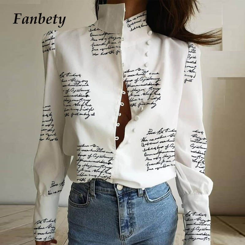 Office Ladies Stand Neck Buttoned Blouse Shirt Women Letter Print Puff Long Sleeve Pullovers Elegant Casual Blouse Tops Blusas