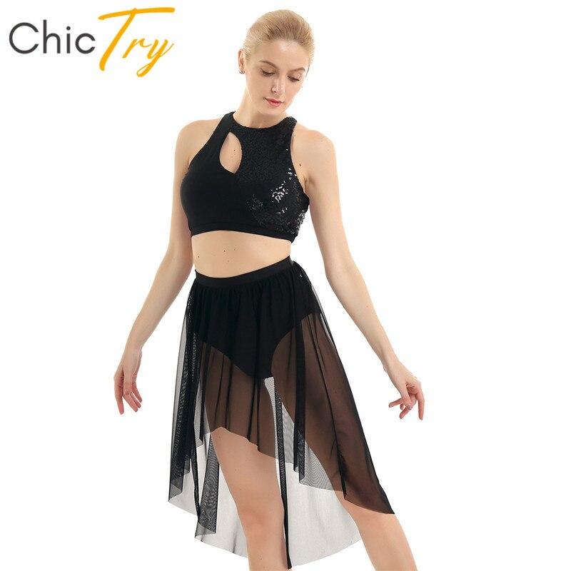 ChicTry Shiny Sequins Asymmetrical Gymnastics Ballet Crop Tops Leotard Mesh Skirt Set Women Contemporary Lyrical Dance Costumes