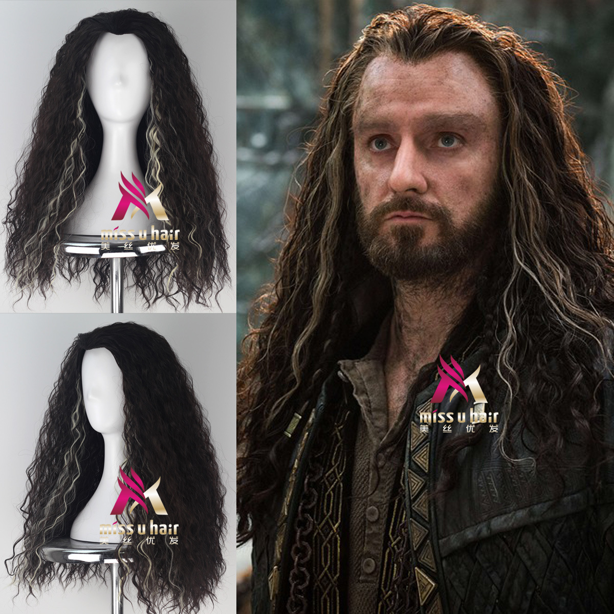 Halloween Mens The Hobbit Thorin Oakenshield Long Long Wavy Wig Role Play Thorin Hair The Lord Of The Rings Cosplay Costumes