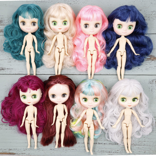 Middie blyth nude doll 20cm joint body glossy face and matte face with makeup gray eyes soft hair DIY toys gift with gestures