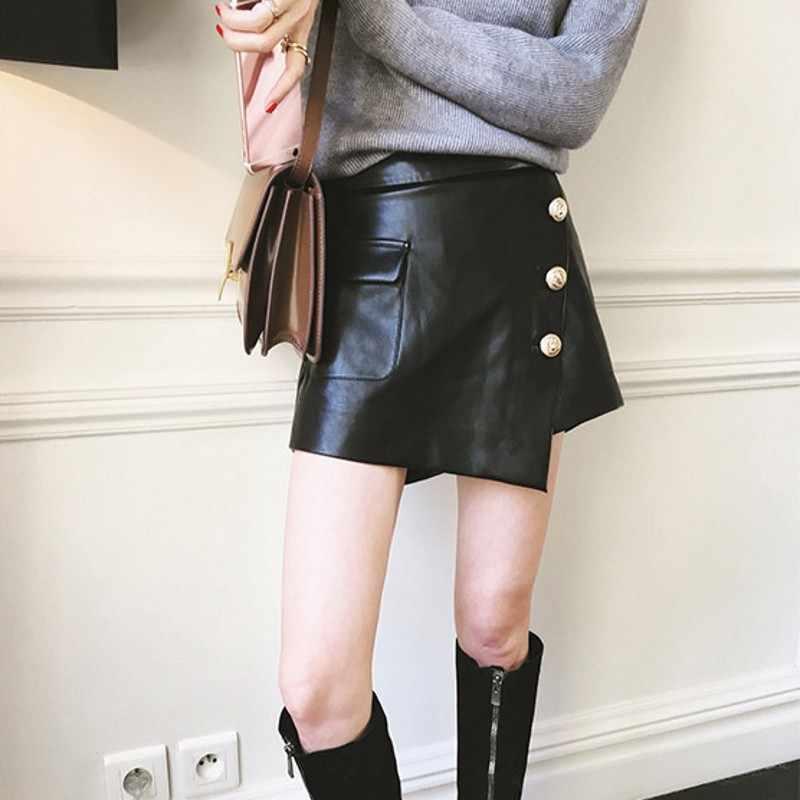 Brand New Punk Designer Vrouwen Echte Schapenvacht Lederen Broek Rok Mode Een Lijn Rock Knop Hoge Taille Slim Fit Mini rokken 2XL
