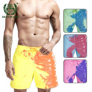 Beach Shorts Swimwear Surfing-Board Swimming-Trunks Color-Changing Hawaiian Quick-Dry