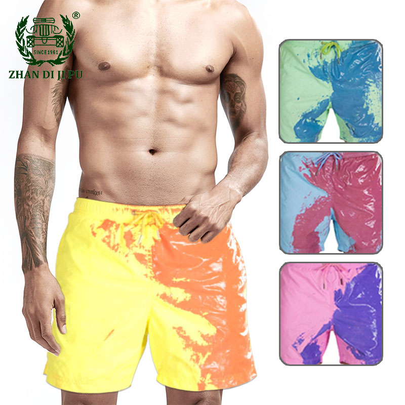 Color-changing Beach Shorts Men Summer Hawaiian Swimming Trunks Swimwear Pant Quick Dry Bathing Surfing Board Shorts Ropa Hombre
