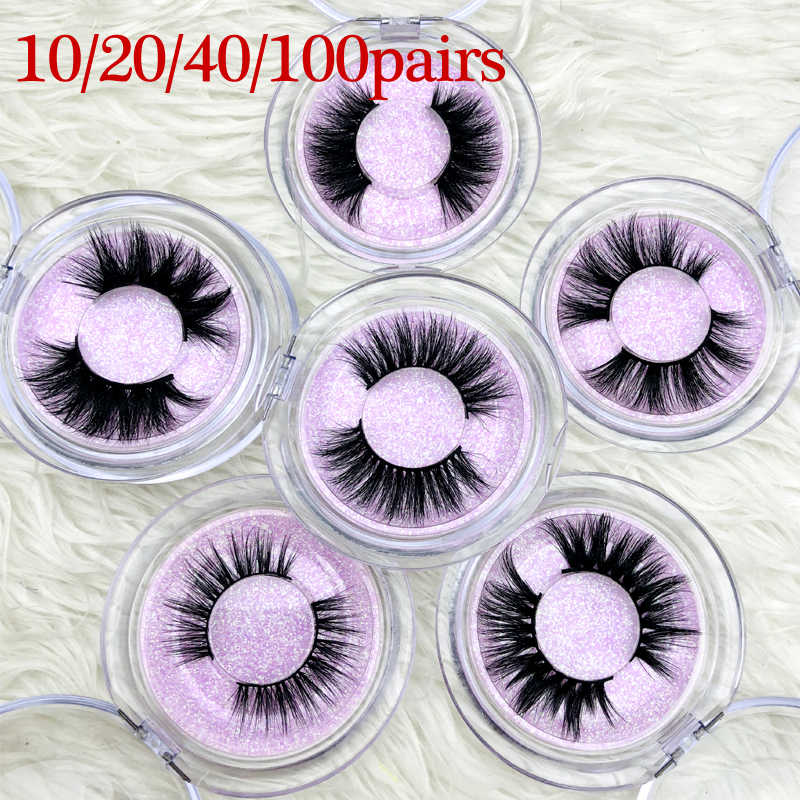 Wholesale 3D Real Mink Dramatic Lashes cruelty free custom logo Handmade glitter paper clear case
