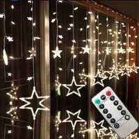 Ac110v ou 220 v iluminação do feriado led luzes de fadas estrela cortina string luminarias guirlanda decoração natal casamento luz 3 m