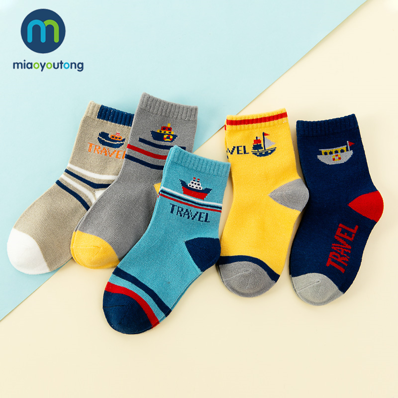 5 Pair Safe Comfort Warm Cotton High Quality Soft Steamship ET Rocket Child Boy Newborn Socks Kids Girl Baby Socks Miaoyoutong