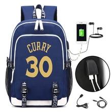 Laptop Backpack Curry-Fans Usb-Charging Stephen School Travel-Bag Multifunction Girls