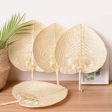 New Pushan Arts Hand Made Fan Peach Shaped Bamboo Summer Cool Air DIY Characteristic Natural leaves