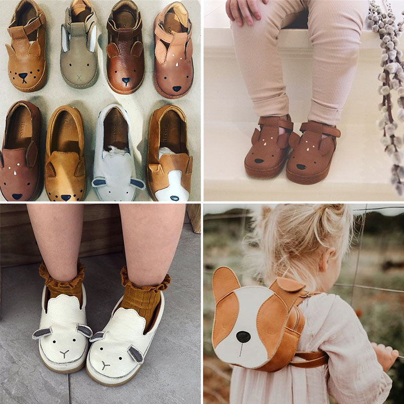 Donsje Real Leather ! Kids Brand Shoes Lovely Animal Toddler Boys Girls Fall Winter Shoes Top Quality Little Girl Leather Shoes