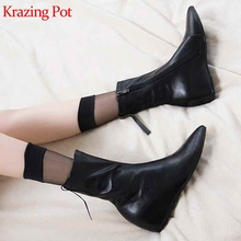 Krazing pot new high quality microfiber pointed toe high heels increasing zipper Chelsea solid keep warm stretch ankle boots L77