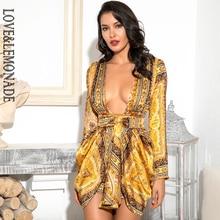 LOVE&LEMONADE Sexy Yellow Vintage Print Deep V Neck High Waist Sleeve Split Shrug  Mini Dress (Pattern Is Asymmetrical)LM82157 1