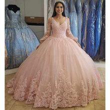 ANGELSBRIDEP długie rękawy Quinceanera sukienki na 15 Party Fashion aplikacja długość podłogi księżniczka kopciuszek urodziny suknie Hot