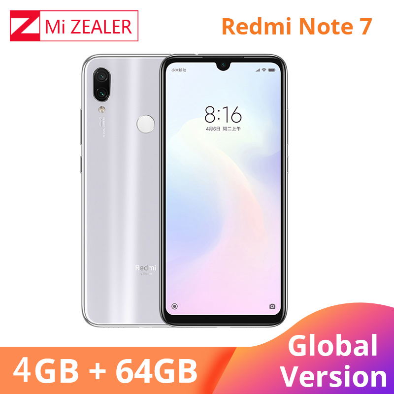Global Version White Xiaomi Redmi Note 7 4GB RAM 64GB ROM 5V 2A QC Charge Mobile Phone Snapdragon 660 4000mah 48MP Xiomi Camera