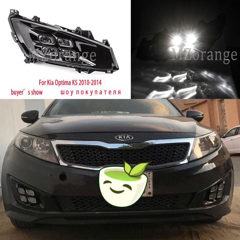 For Kia Optima K5 Headlights 2010-2014 LED Headlight Led DRL Fog Lights Daytime Running Lights 2pcs Fog Lamps Cover Day Lights