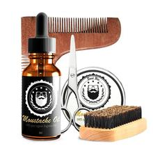 Beard Care Set Hign-quality Beard Kit With Oil Wax Comb Brush Scissors For Men Essence Styling Hair Beard Care Set bellylady male beard care set beard brush beard comb beard oil beard cream scissors grooming