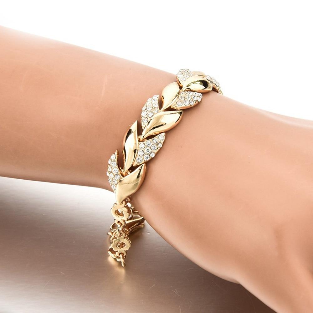 Bohemian Style Women Girls Gold Bracelet Rhinestone Leaves Chain Bangle Luxury Wedding Jewelry Simple Fashion Elegant New
