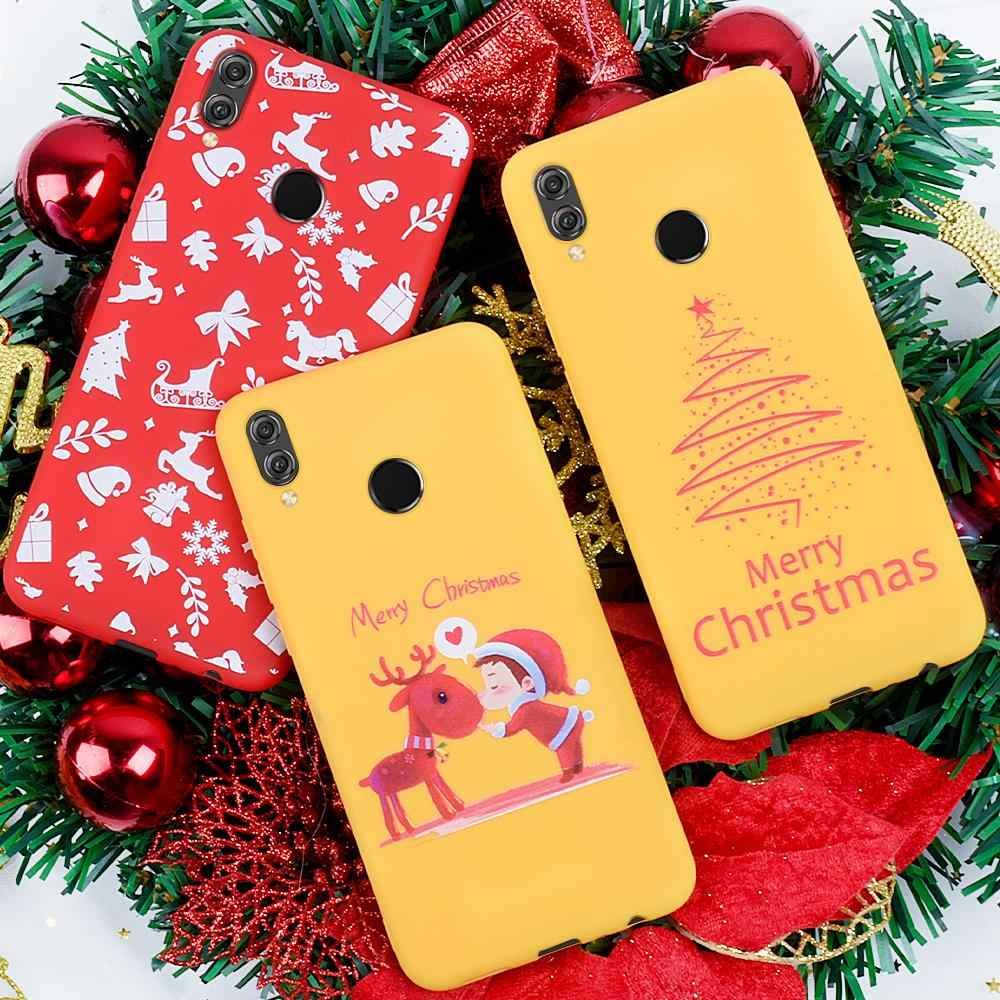Christmas Phone Case For Honor 8X Cute Santa Claus Tree Elk Soft Phone Cover for Huawei Honor 9X 20 Pro 10 Lite Present Gift