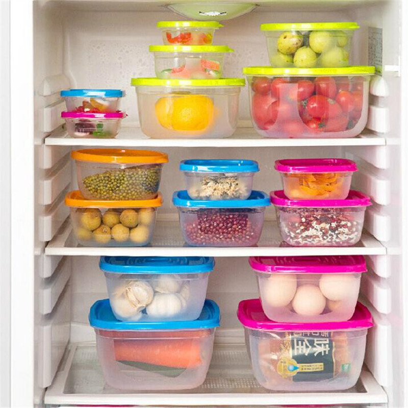 5Pcs/Set Sealed Square Round Crisper Refrigerator Rainbow Food Storage Boxes Preservation Box Container Kitchen Supplies ZXH 3