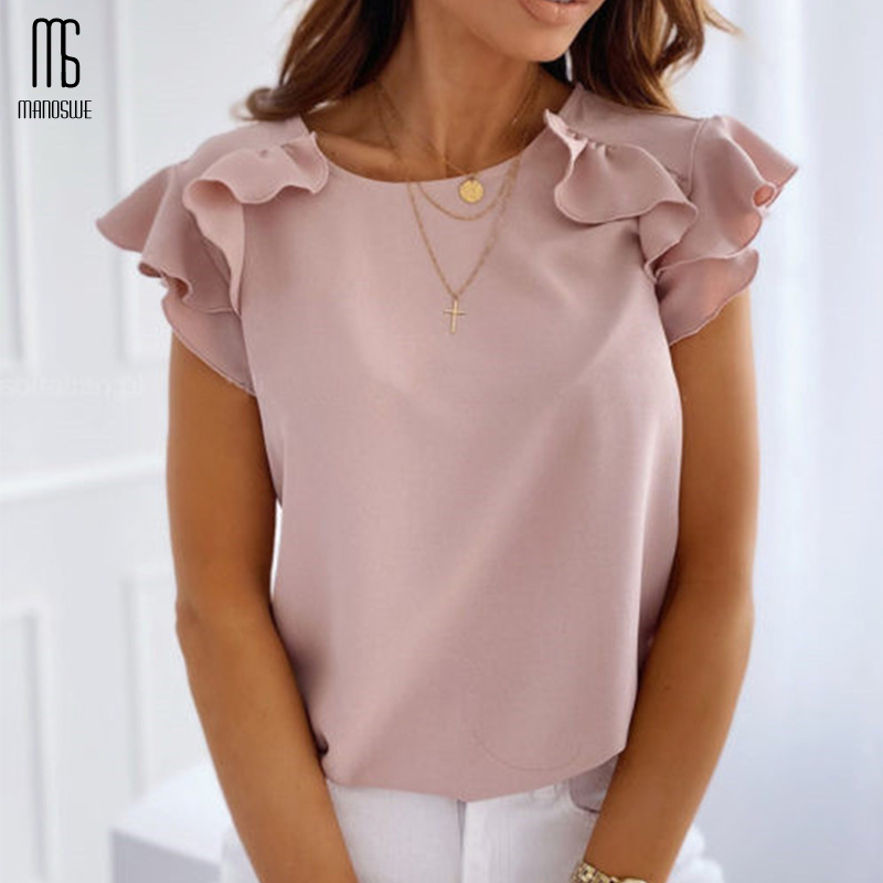 Womens Perspective Stitching Short-Sleeved Round Neck T-Shirt Solid Color Top