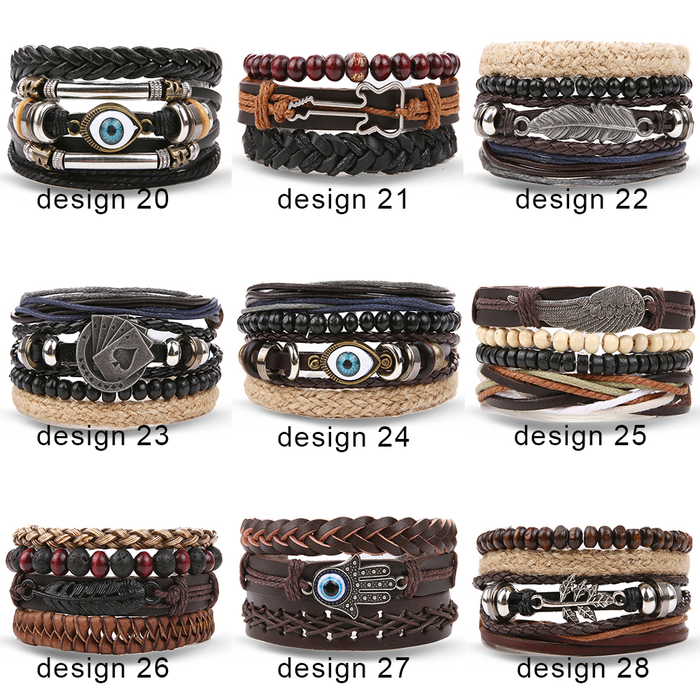 VKME Bohemia Bracelets & Bangles Women and Men Multilayer Leather Bracelets Jewelry Vintage Ethnic Gift