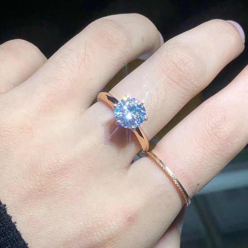 LMNZB Haben 18K RGP Stempel Reine Solide Weiß/Gelb/Rose Gold Ring Solitaire 2,0 ct Lab Diamant engagement Hochzeit Ringe Für Wome