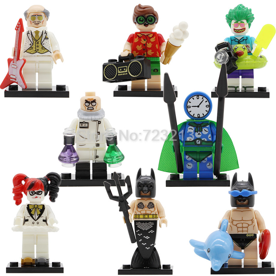 Single Mermaid Batman Movie Super Hero Figure Robin Joker Music Alfred Model Hugo Strange Building Blocks Kits Set Toys Legoing