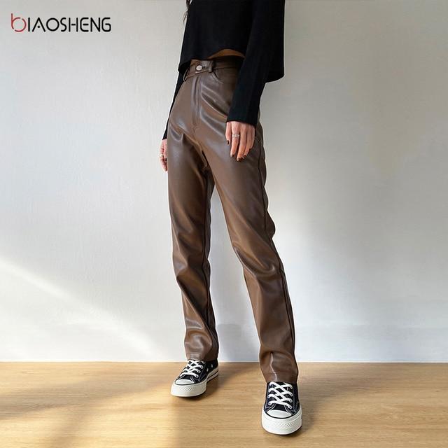 Faux PU Leather Pants For Women Trouser High Waist Straight Leg Pants Fashion Brown Casual Vintage Leisure Pants Streetwear 6