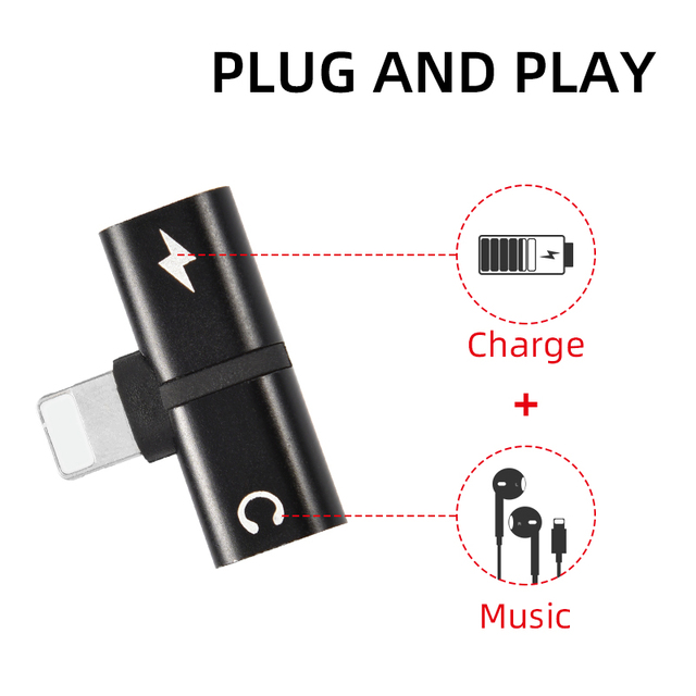 T-shaped Headphone 2-in-1 Dual-port Headphone Adapte for iPhone 7 8 Plus X XS Xs Max 11 Audio Charger Dispenser Accessories 5