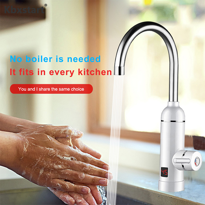 Kbxstart 220V Instant Electric Faucet With Temperature Display Hot Water Heater For Kitchen Bathroom Hot And Cold Water Dual Use