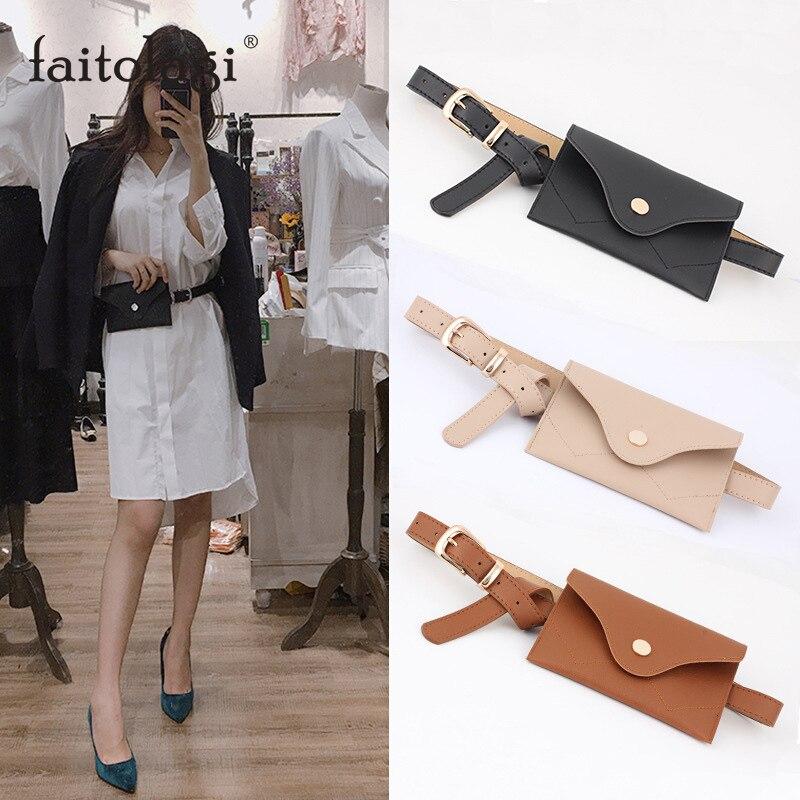 PU Leather Belt For Women Belt With Bag Bucket Thin Button Bag Cinturon Mujer Ceinture Femme Pasek Damski