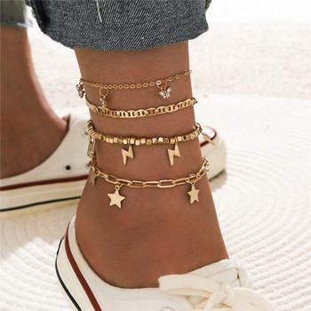 4pcs/set Retro Gold Color Star Lightning Butterfly Beaded Anklet Set for Women Girl Chains Layerd Anklets Foot Chains Jewelry image