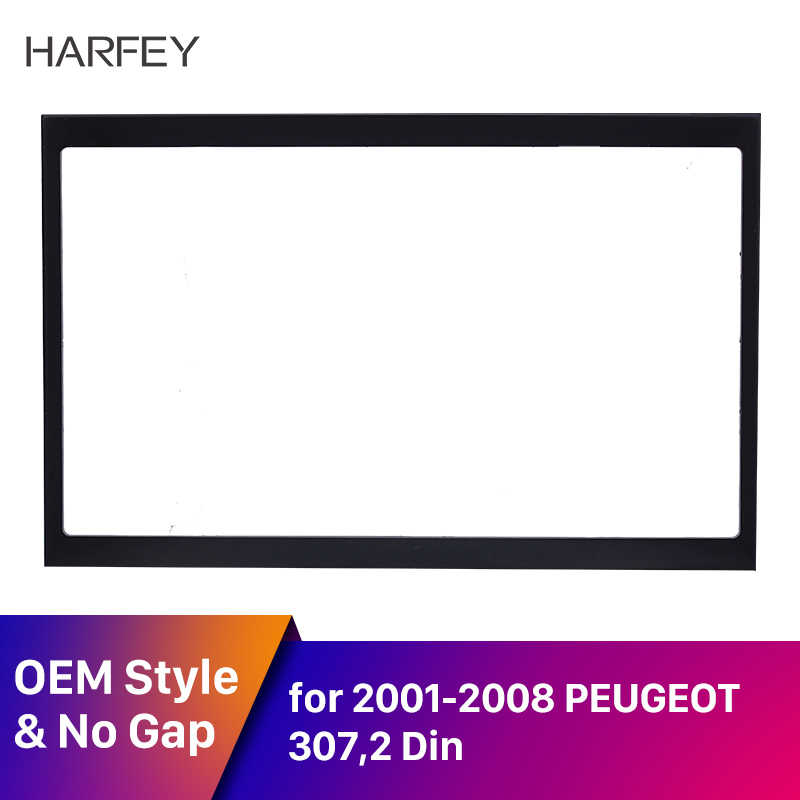 Harfey 2 Din カーラジオ筋膜トリムキットプジョー 307 2001 2002 から 2008 ダッシュマウントキットアダプタ CD トリムパネルオートステレオフレーム