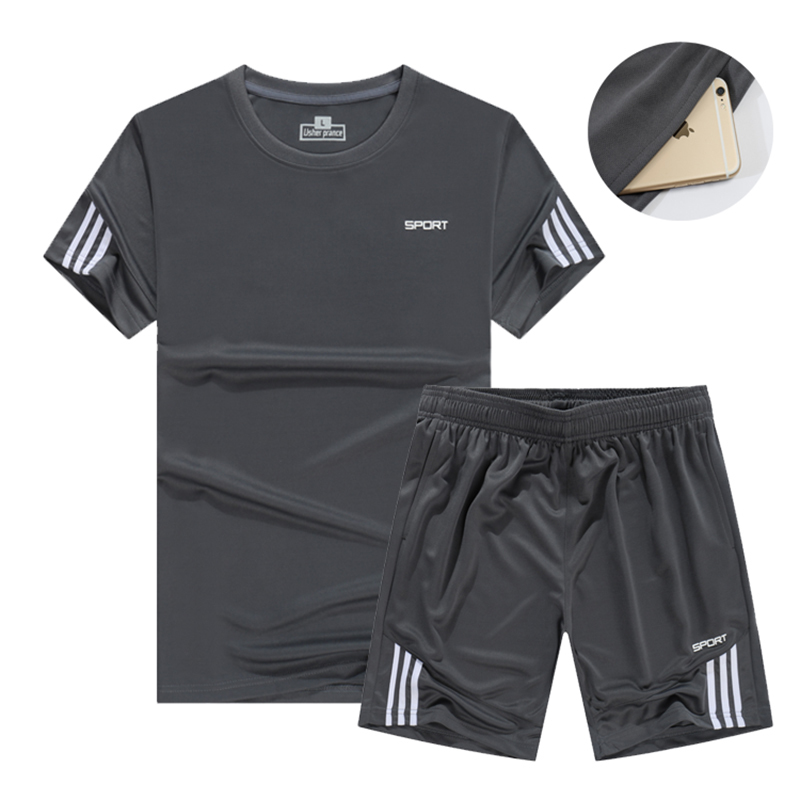 Men's 2020 Running Suits Sport Fitness Sportswear Soccer Training Tracksuit Jersey Summer Tennis Jogging Gym Clothing Set