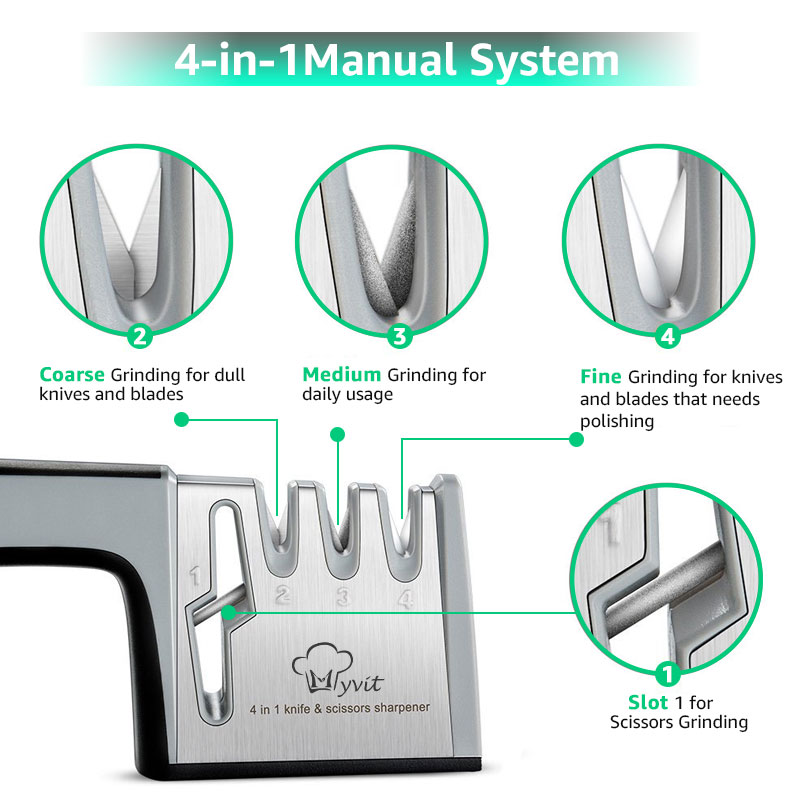 Knife Sharpener 4 in 1 Diamond Coated&Fine Rod Knife Shears and Scissors Sharpening stone System Stainless Steel Blades 3