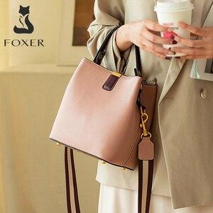 Image 2 - FOXER Cowhide Bucket Bag Lady Messenger Bag Round Women High Quality Stylish Handbag & Totes Elegant Female Bag Large Capacity