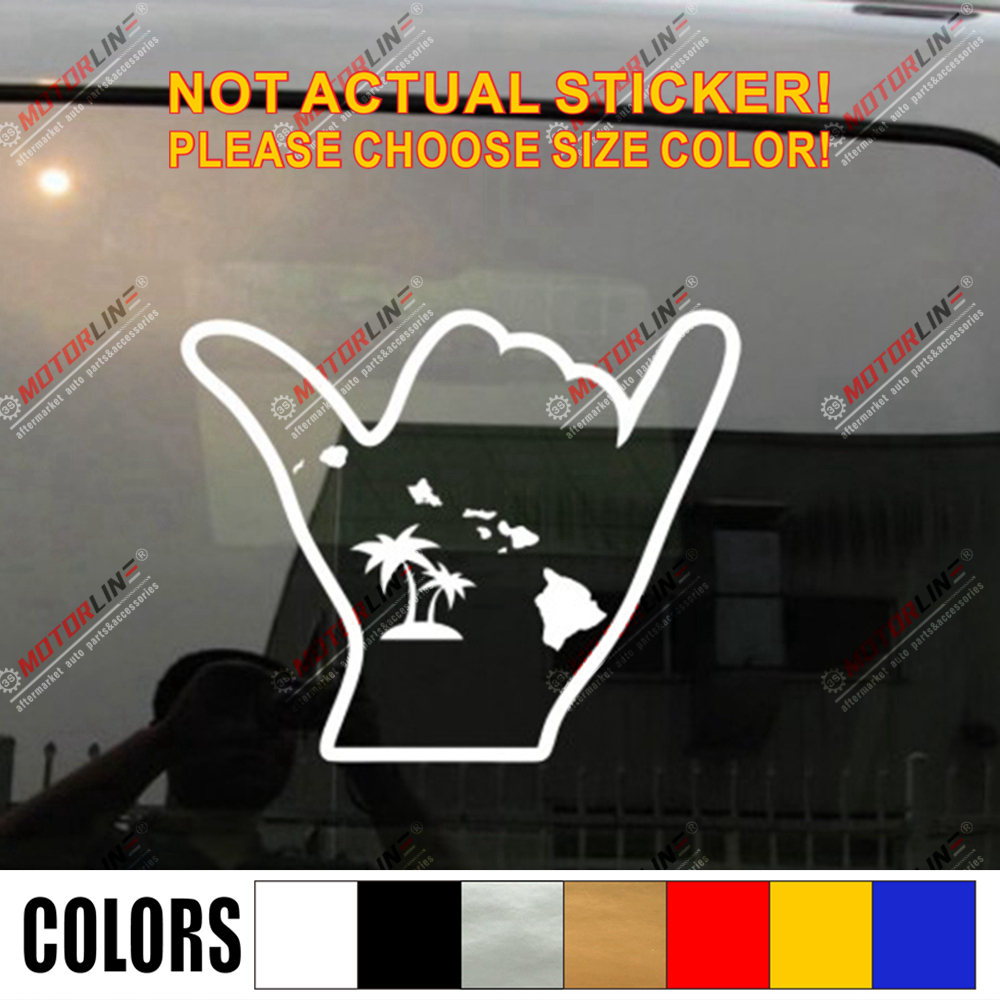 This is a hangloose surfer Hawaiian vinyl decal or sticker glossy white.