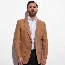 2020 Tweed Blazer Fashion Design Camel Jas Custom Made Warm Wol Blend Maat Slanke Mode Bruin Goud Blazer