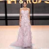 High Quality Elegant Women Dress 2019 New Spring Fashion Off Shoulder Dress Long Pink Sheer Mesh Wedding Party Dresses Vestidos