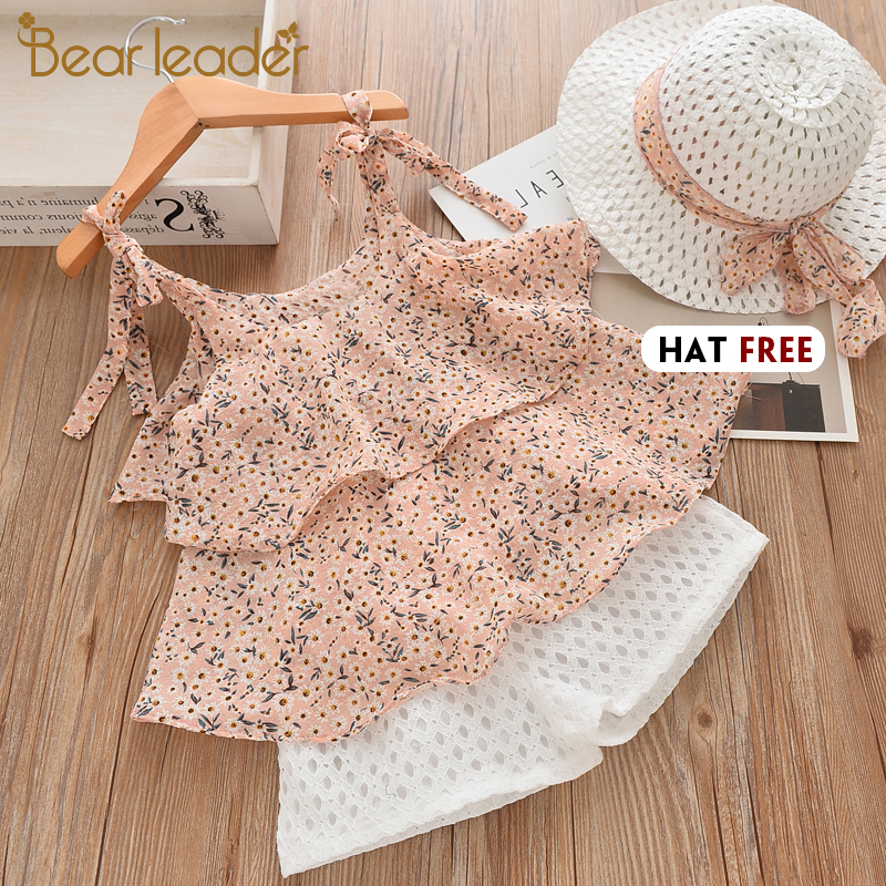 Bear Leader Girls Clothing Sets 2020 Summer Kids Clothes Floral Chiffon Halter+Embroidered Shorts Straw Children Clothing