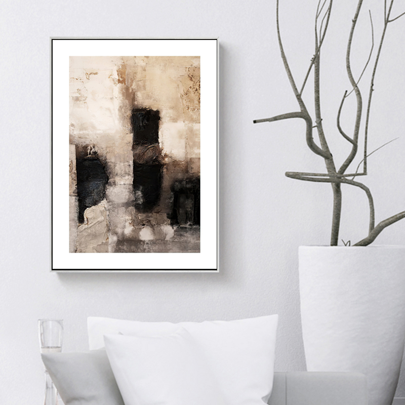 Misty Forest Lake Boat Geometric Abstract Nature Landscape Picture Poster Nordic Canvas Print Painting Living Room
