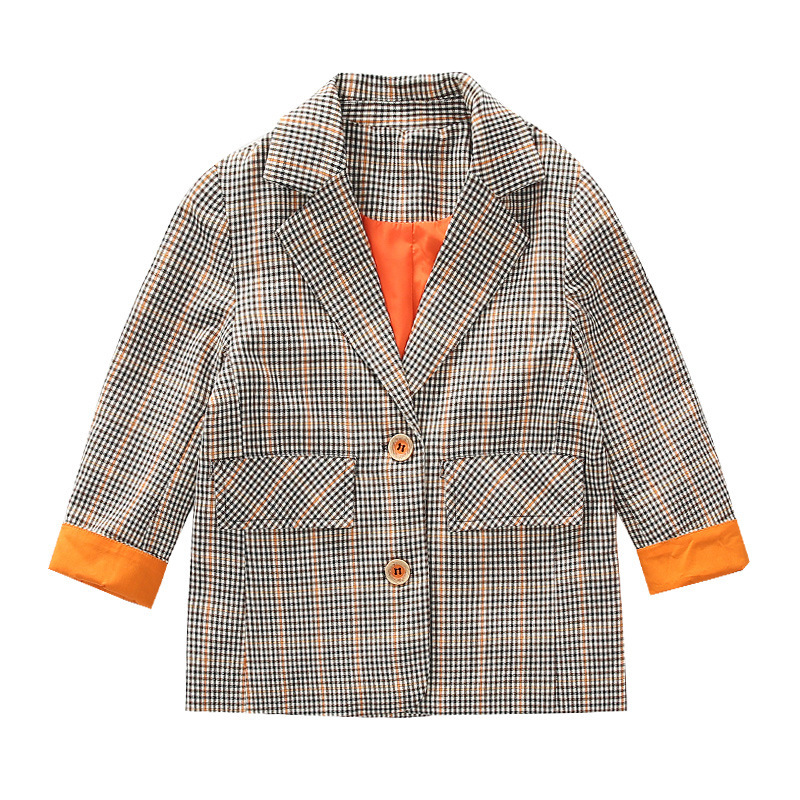 Children's Blazer For Teenage Girl Long Sleeve Cardigan Plaid Blazers Student School Uniform Outerwear Girls Casual Coat Costume 6
