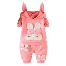 Autumn Baby Long Sleeve Clothes Set Girl Cute Rabbit Pattern Suit Children Clothing #25