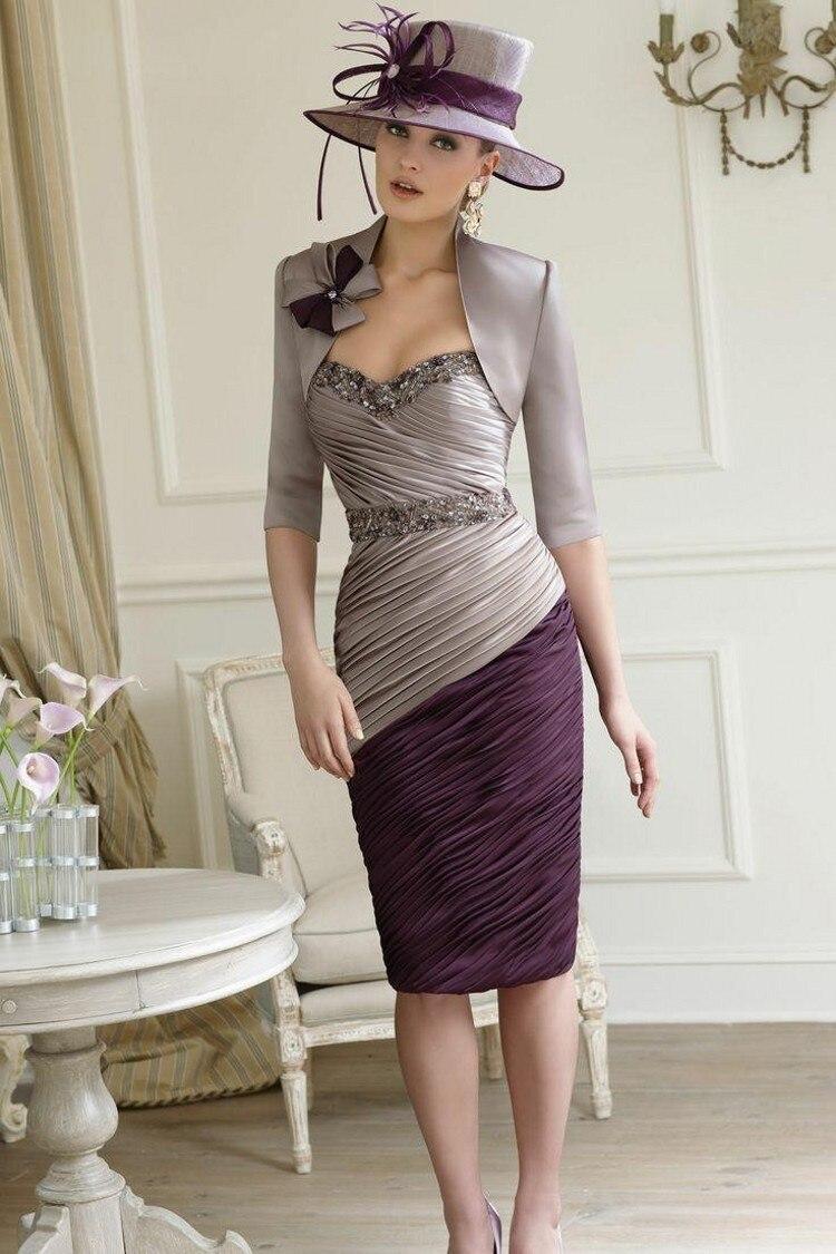 Gray Purple Special Mother Of The Bride Dresses With Jacket Beaded Bow Half Sleeves Evening Dress Vestido De Madrinha