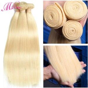 Image 3 - Blond 613 wiązki proste włosy ludzkie brazylijskie włosy wyplata wiązki 1 2 3 4 wiązki Remy włosy Mslove mogą być barwione dowolny kolor