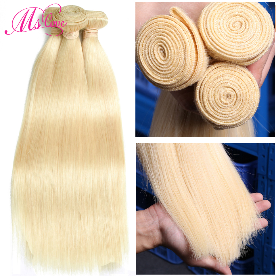 Image 3 - Blonde 613 Bundles Straight Human Hair Brazilian Hair Weave Bundles 1 2 3 4 Bundles Remy Hair Mslove Can Be Dyed Any ColorHair Weaves   -
