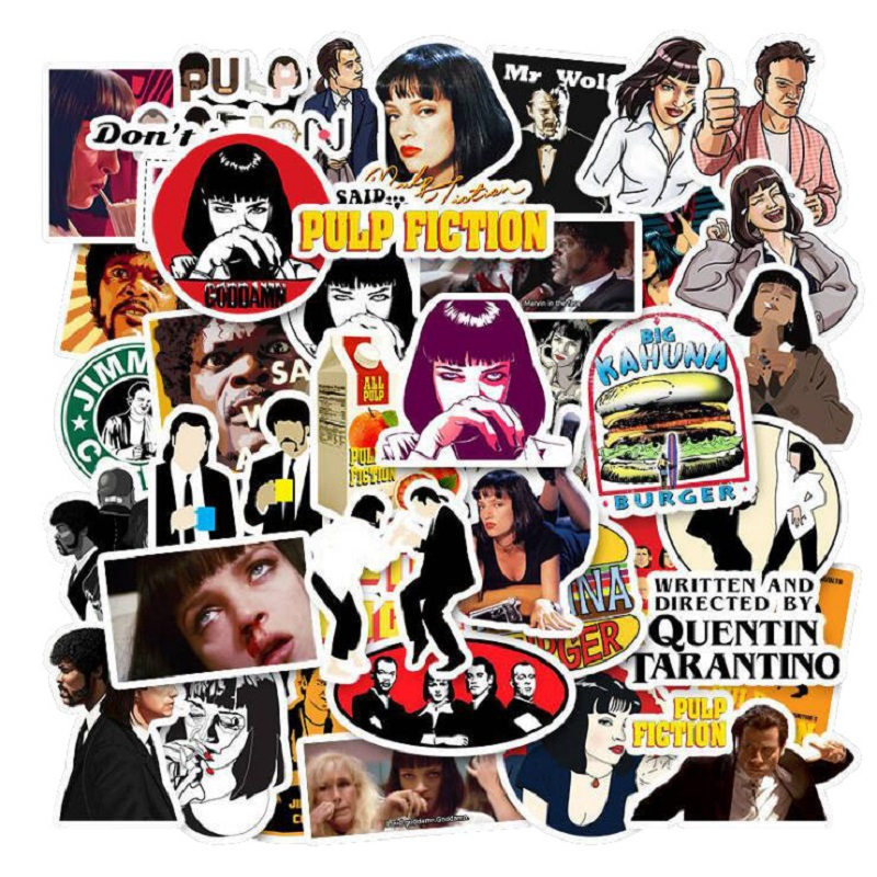 50pcs Classic Movie Pulp Fiction Graffiti Stickers For Mobile Phone Laptop Luggage Suitcase Guitar Skateboard Decal Stickers