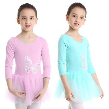 TiaoBug Children Long Sleeve Cotton Tulle Sequin Butterfly Ballet Tutu Dress Girls Gymnastics Leotard Ballerina Kids Dance Wear